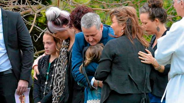 Mourners outside the funeral service for Kylie Blackwood in August.
