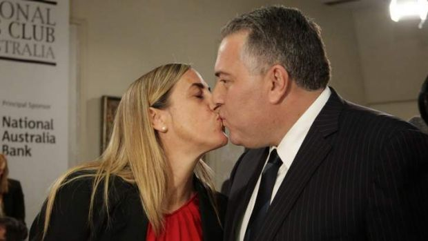 Shadow Treasurer Joe Hockey and his wife Melissa Babbage kiss, after he delivered his post Budget address at the ...