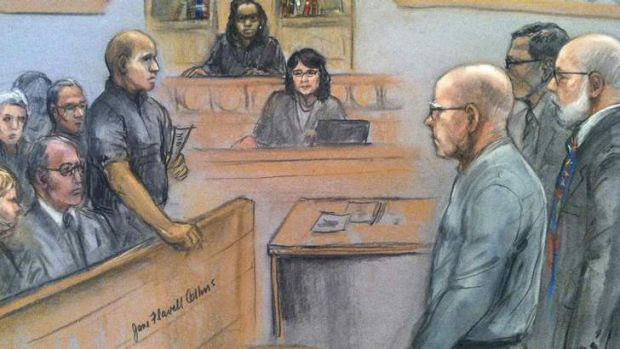 """James """"Whitey"""" Bulger listens to the verdict in his murder and racketeering trial as seen in this courtroom drawing in ..."""