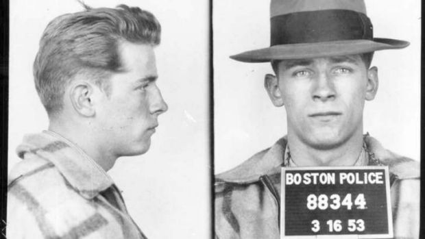 """This 1953 Boston police booking file photo combo shows James """"Whitey"""" Bulger after an arrest."""