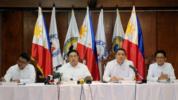 Philippine Defence Undersecretary Pio Lorenzo Batino (second right) speaks during a press conference at Camp Aguinaldo ...