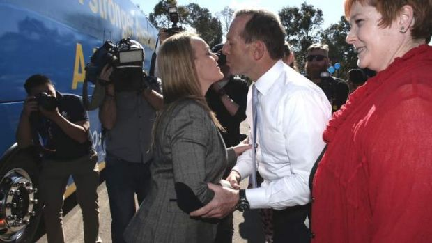 Opposition Leader Tony Abbott greets Liberal Party candidate Fiona Scott.