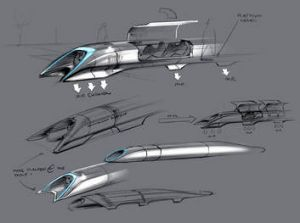 In the tube: An artist's impression of the Hyperloop, which inventor Elon Musk says could carry passengers and goods in ...