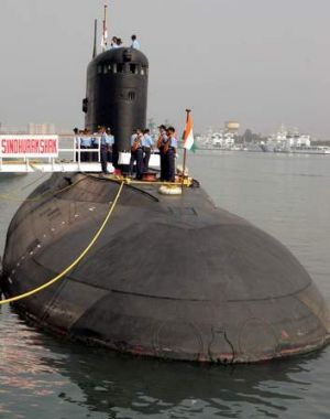 The Indian Navy's Sindhurakshak submarine is docked in Visakhapatnam in 2006.