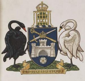 Old-world imagery of the Canberra coat of arms.
