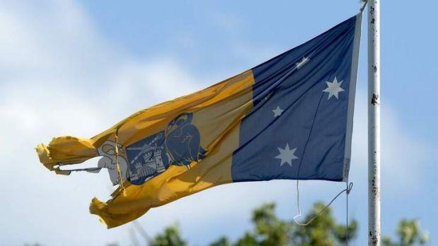 Worn out? The city of Canberra's coat of arms on the ACT flag.