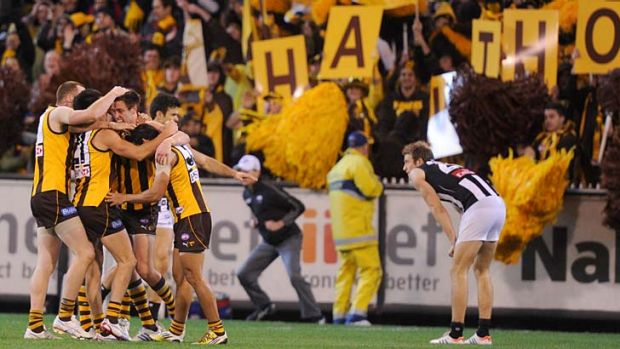 Taking wing: Hawthorn's forwards will again present the Magpies with plenty of problems.