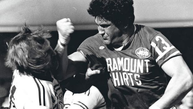 Now and then ... Manly's Mark Broadhurst and Newtown's Steve Bowden in 1981.