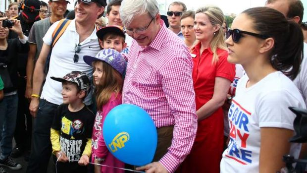 Will it, or won't it? Mr Rudd poses for the photo opportunity while nervously trying to hold down the LNP balloon.
