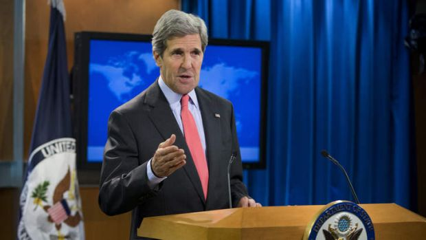 Secretary of State John Kerry gestures during a statement on the ongoing situation in Egypt before the start of a press ...
