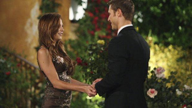 Gia appeared as a finalist in season 14 of the program, competing for the affections of bachelor Jake Pavelka, right.
