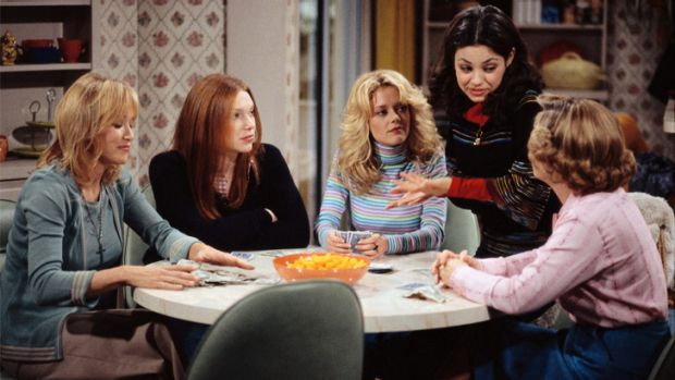 Dead at 43: Lisa Robin Kelly, centre, was among the widely reknown cast of <i>That '70s Show</i>.