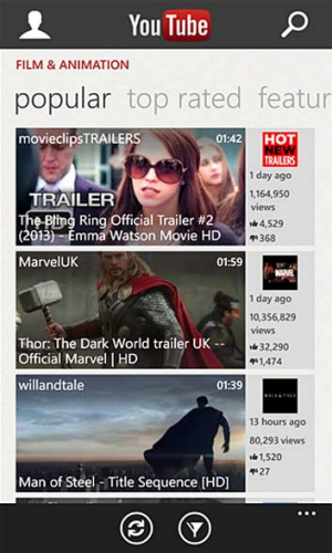 A screenshot of the blocked YouTube app for Windows Phone.