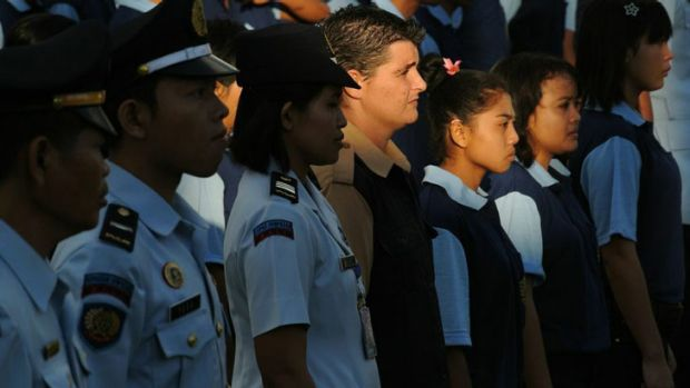 Recommended for sentence cut: Bali Nine member Renae Lawrence at Indonesian National Day celebrations in Kerobokan on Friday.