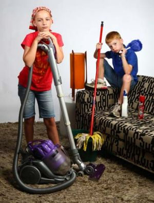 Kids chores: Bridget, 11 yrs and her brother Liam, 8, do work around the home for pocket money.