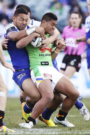 Restricted: The Bulldogs contained Anthony Milford and the Raiders attack at Canberra Stadium.