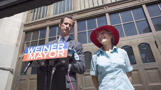 Loyal supporter: Anthony Weiner and his mother, Frances.