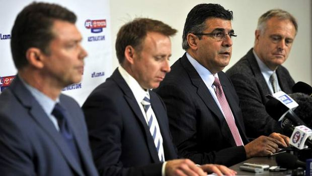 AFL drugs press conference: AFL Club CEO rep Gary Pert, AFLPA CEO Matt Finnis, CEO Andrew Demetriou and AFL medical ...