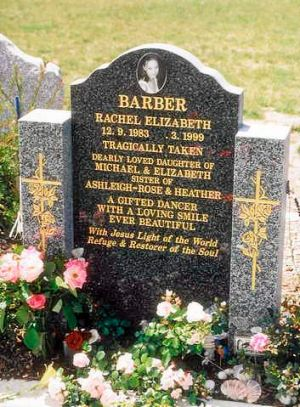 The headstone of Rachel Barber, who died in 1999.