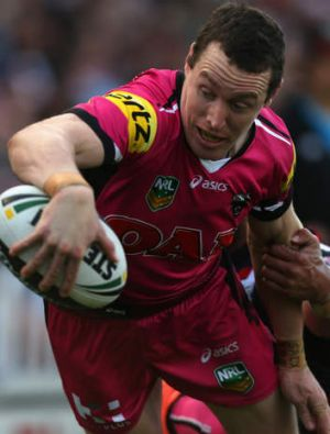 Making his mark: Dave Simmons of the Panthers scored two tries for the Panthers.