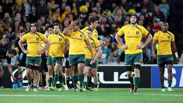 Dejected: The Wallabies after their defeat against the All Blacks on Saturday night.