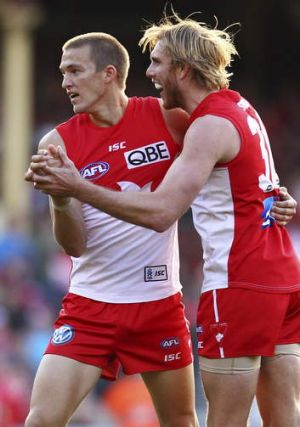 Sidelined: Influential Swans duo Sam Reid and Lewis Roberts-Thomson.