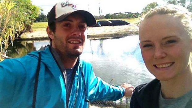 Killed: Christopher Lane with his girlfriend Sarah Harper.
