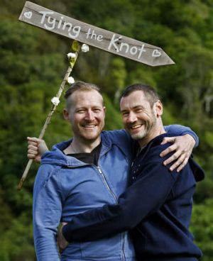 Trent Kandler, left, and Paul McCarthy are an Australian couple who won an all-expenses-paid same-sex wedding in ...
