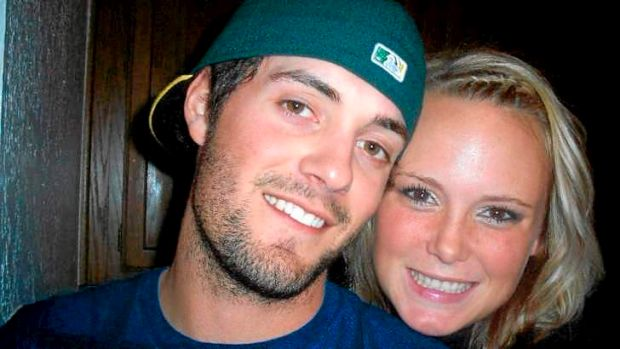 Shot dead: Australian baseballer Chris Lane with his girlfriend Sarah Harper.