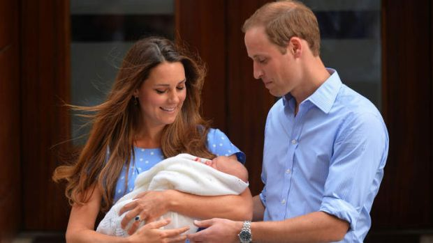 Prince William, Duke of Cambridge, and Catherine, Duchess of Cambridge show their new-born baby boy, Prince George of ...