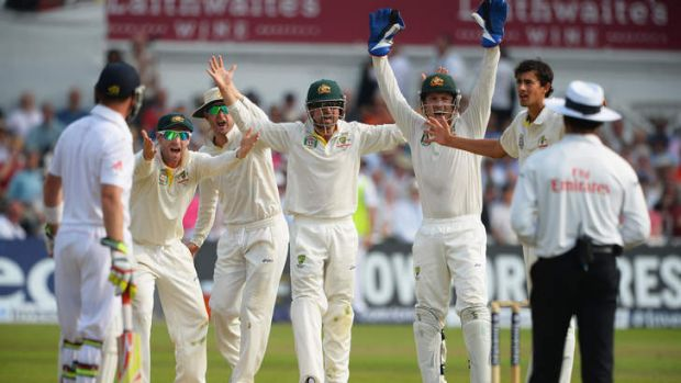 Phil Hughes, Michael Clarke, Ed Cowan, Brad Haddin and Ashton Agar of Australia appeal unsuccessfully for the wicket of ...