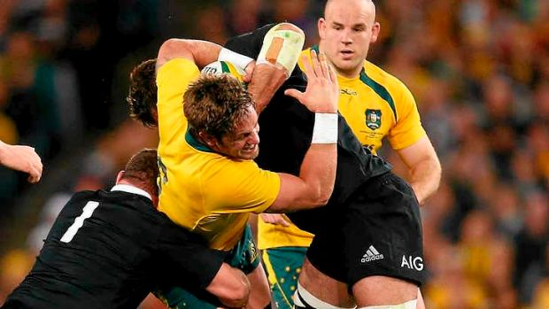 Hugh McMeniman in action for the  Wallabies.