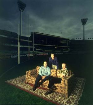 """The onset of the couch: """"Talking footy"""" 1997. Leigh Matthews, Bruce McAvaney and Mike Sheahan."""