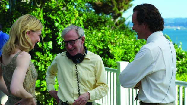 Cate Blanchett (left), writer/ director Woody Allen (centre) and actor Peter Sarsgaard on the set of <i>Blue Jasmine</i>.