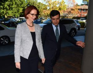 Sam I am … Sam Dastyari with Julia Gillard in May this year.