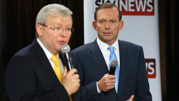 Almost as many viewers as it had participants ... Prime Minister Kevin Rudd and Opposition Leader Tony Abbott at second ...