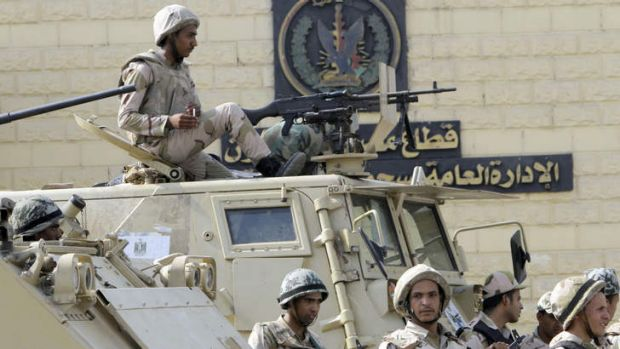 Egyptian army soldiers guard Torah Prison, where ousted President Hosni Mubarak is being held. The former leader could ...