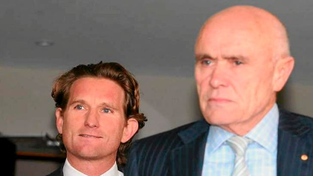 Bombers coach James Hird and club president Paul Little at an Essendon press conference in Melbourne on Wednesday.
