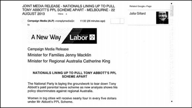 The ghost of Gillard: her image comes up on ALP press releases.