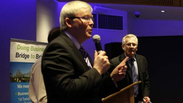 Kevin Rudd debates with LNP candidate Dr Bill Glasson in the seat of Griffith in Brisbane on August 6.