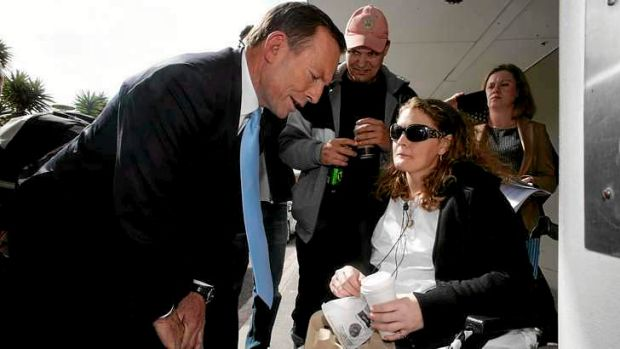 Medicine Man: Opposition Leader Tony Abbott chats to a St Vincent's Hospital patient on Thursday.