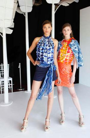 Colour dream: Alexandra Agoston and Nicole Pollard model Collette Dinnigan's latest collection.