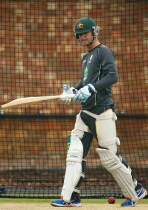 Michael Clarke in the nets.