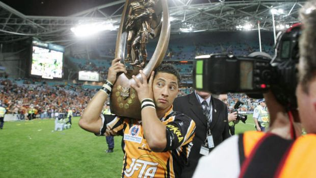 Benji Marshall after beating North Queensland to lift the 2005 premiership trophy.