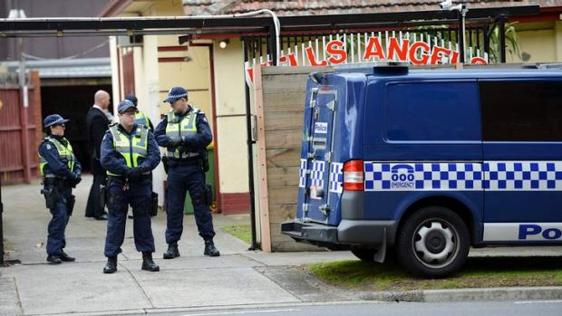 The scene of a police raid on a Hells Angels clubhouse in Alphington.