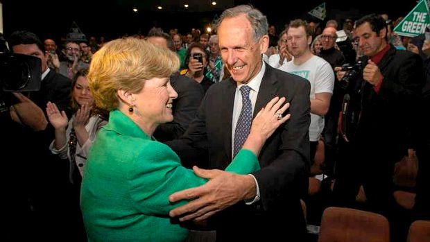Greens leader Senator Christine Milne greets former leader Bob Brown at the launch of the Greens federal election ...