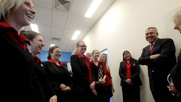 The shadow treasurer on a visit to a central coast employment training office in the marginal seat of Dobell.