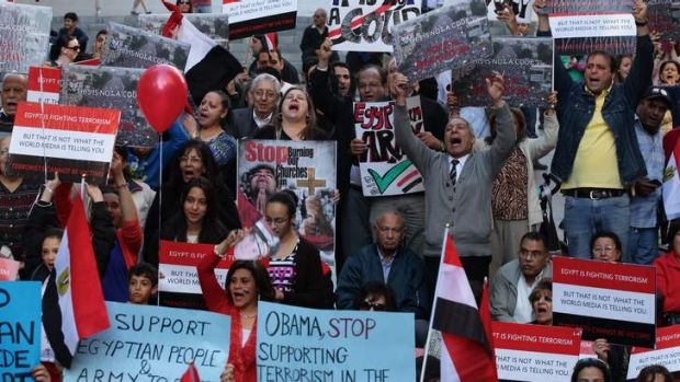 Angry protest: Coptic Christians demonstrate in Sydney on Saturday against Egypt's Muslim Brotherhood.