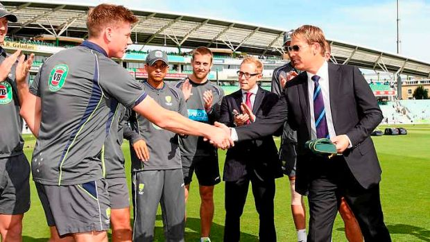 Another Warnifesto recommendation comes to fruition: Shane Warne presents James Faulkner with his baggy green cap.