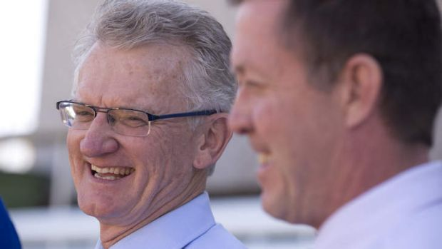 LNP Griffith candidate Bill Glasson  and Opposition sports spokesman Luke Hartsuyker at Easts Rugby Club on Saturday.